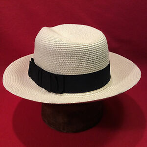 e447a3fab9035 Cream Straw Hat Fedora With Black Band Men s VIntage Hat -- Size 7 1 ...