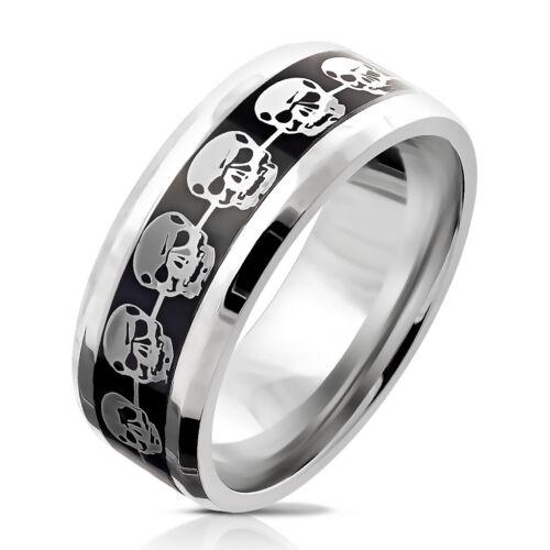 Dedo anular anillo de acero inoxidable plata muertos cráneo negro tamaño 9//10//11//12//13