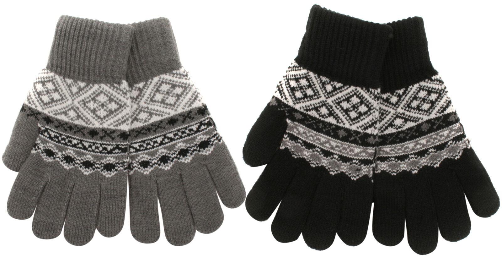 Atano Mens Fairisle Pattern Knitted Gloves