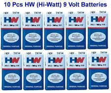 10 pcs 9V 9 Volt Battery HW Hi-Watt 6F22 with 0% Mercury 0% Cadmium High Quality