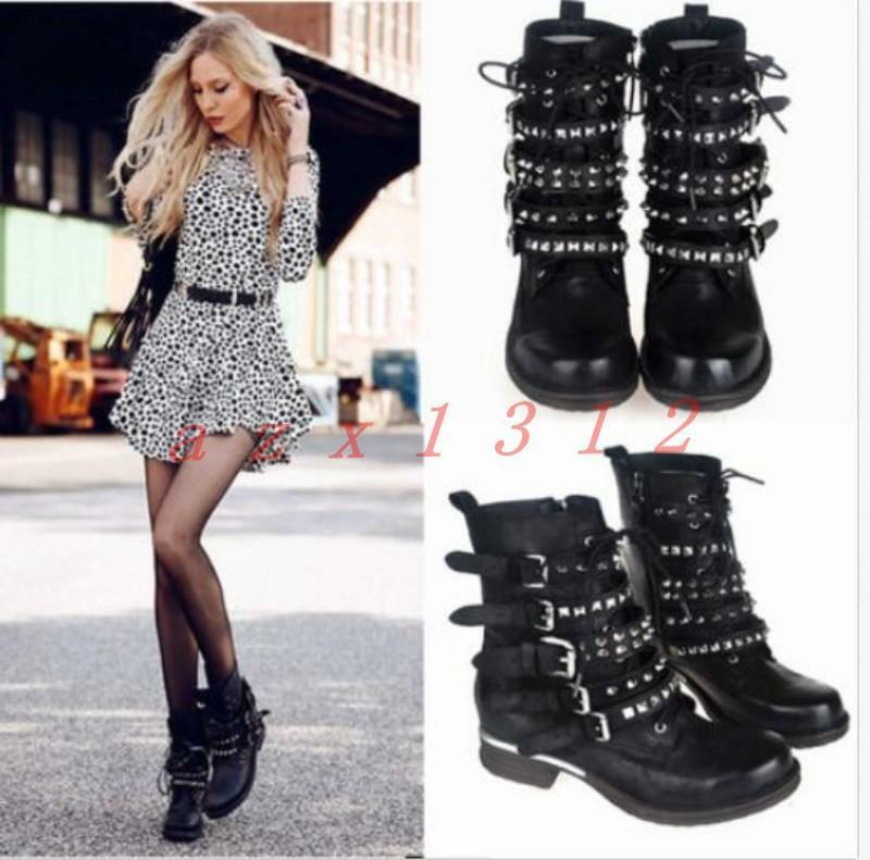 Donna leather punk rivets buckle shoes zipper street short combat boots motor