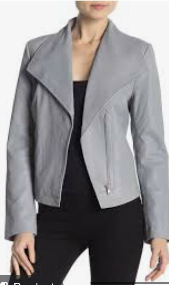 Badgley Mischka leather coat Moto Jacket small sage gray blue Lamb Last One