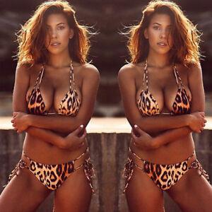 1020eed176d9c Women Sexy Leopard Bikini Bra G-string Swimwear Swimsuit Two Piece ...