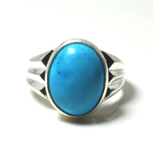 Natural Turquoise Silver Ring Men Women Mark 5 Carat Chakra Healing Size 5-13