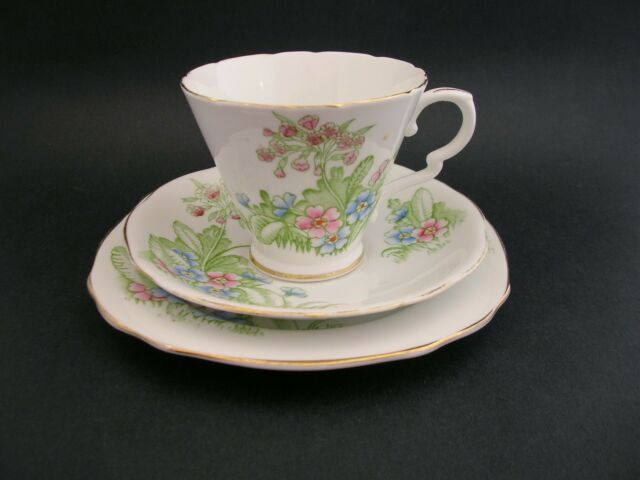 ROYAL STAFFORD PRIMULA Vintage English Bone China TRIO Tea Cup Saucer Plate