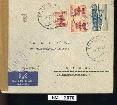 Ausdauernd Bm2070, Libanon, 1951, Beyrouth - Wien, Luftpost, österreichischer Zensurstempel ZuverläSsige Leistung