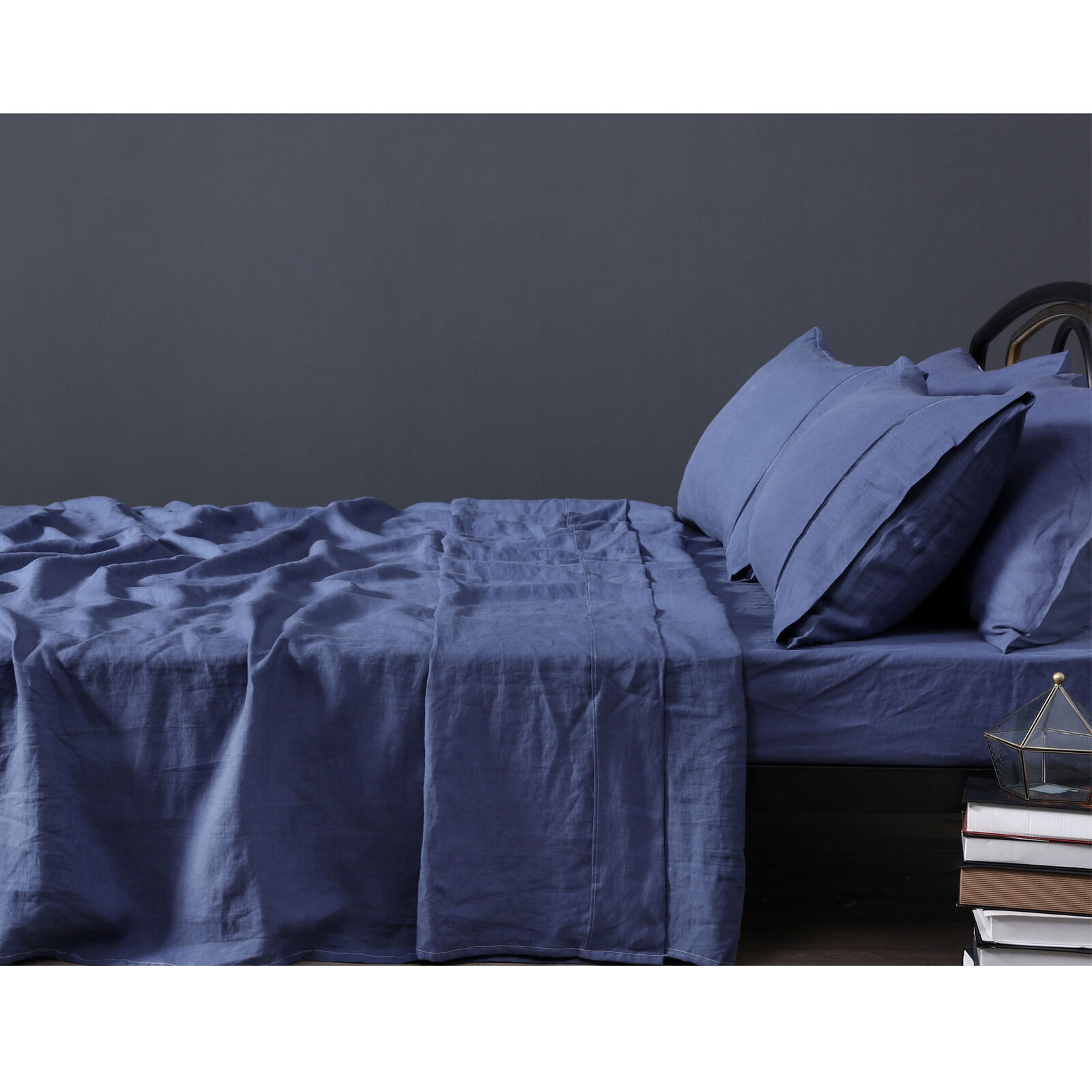 4 Pce 100% Pure Linen INDIGO Blau Sheet Set by Vintage Design Homewares - QUEEN