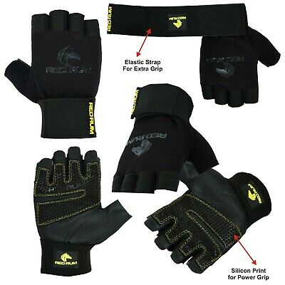 VELO Weight Lifting Gloves Leather Fitness Training Workout Gold Straps
