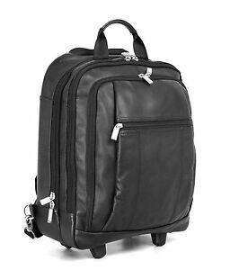 BLACK LEATHER WHEELED BACKPACK/LAPTOP TROLLEY BAG,HAND LUGGAGE ...