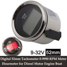 Digital 52mm Tachometer 0 9990 Rpm Meter Hourmeter For Diesel Motor Engine Boat