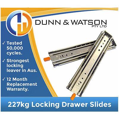 HEAVY DUTY 227kg Locking Drawer Slides / Runners - Lengths 356mm to 1524mm