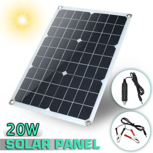 20W-12V-5V-DC-Waterproof-Battery-Solar-Panel-USB-Home-For-Phone-RV-Car-Charger