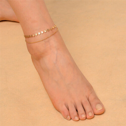 Women Gold Delicate Bead Double Foot Chain Adjustable Ankle Leg Bracelet AnkletW