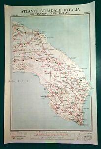 Brindisi Cartina Geografica.Carta Geografica Antica Puglia Brindisi Lecce Tci 1920 Old Antique Map Ebay