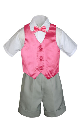 4pc Set Boy Toddler Formal Party Coral Vest and Bow tie White Khaki Shorts S-4T