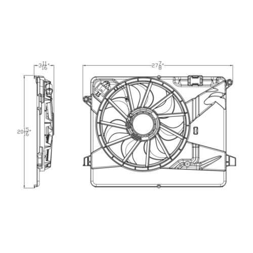 Dual Radiator and Condenser Fan Assembly TYC 623550