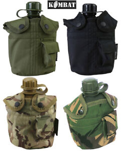 Army-Combat-Military-US-British-Water-Bottle-Belt-Canteen-Black-Green-DPM-Camo