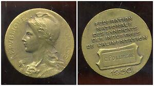 Médaille Fédération Nationale De L'alimentation 1950 ( Diametre 4 Cm )