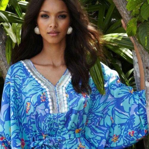 LILLY PULITZER WILDA MAXI CAFTAN DRESS IRIS BLUE M