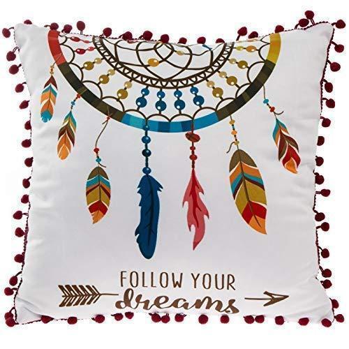 DREAM CATCHER Lesser /& Pavey Cushion with Pom Poms Follow Your Dreams