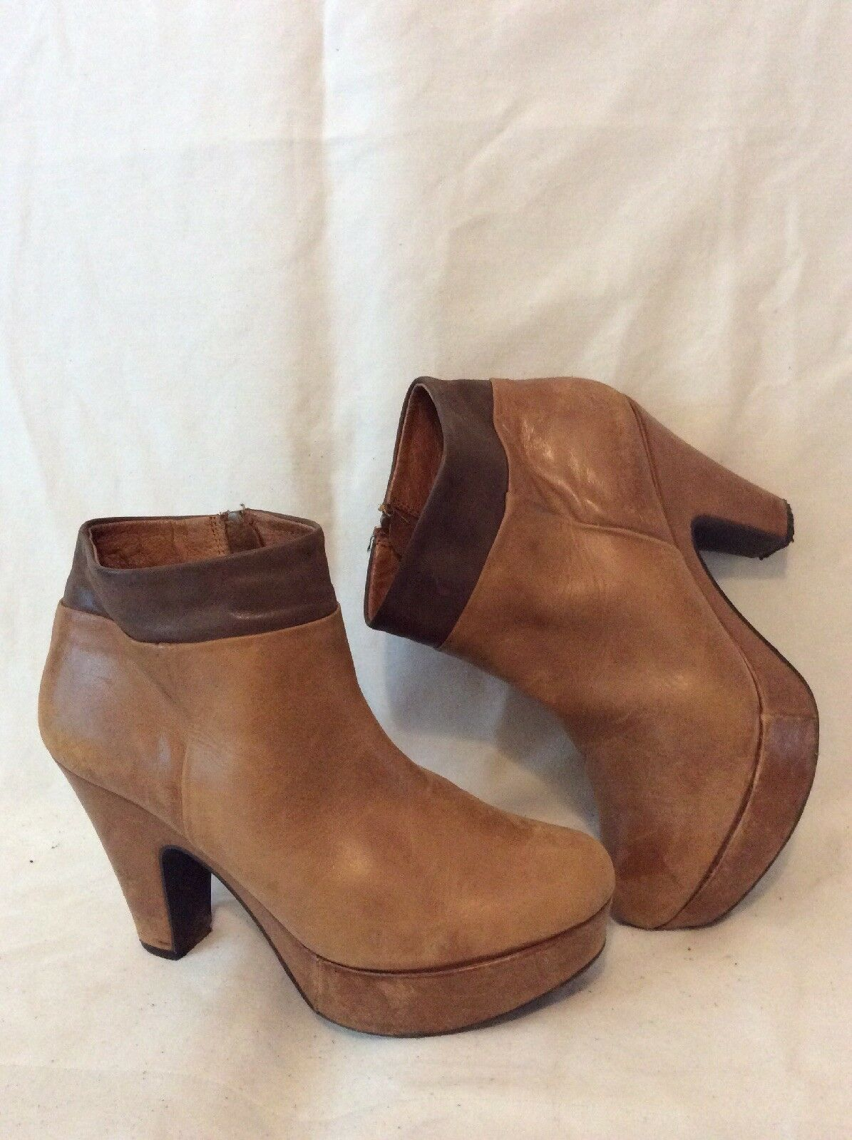 Jones Bootmaker Brown Ankle Leather Boots Size 38