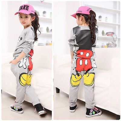 New Baby Girls Kids Mickey Minnie Tops Hoodies+Pants Sportwear Tracksuit Outfits