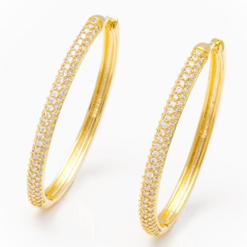 Creolen oval 35 mm Ø Zirkonia weiß 750er Gold 18K vergoldet gelbgold O2804