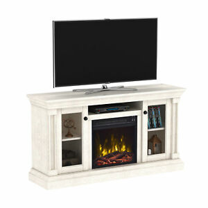 White Oak Tv Stand For Tvs Up To 60 Inches Electric Fireplace Living