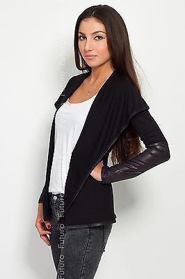Elegant & Sensible Women's Jacket Blazer Style Eco LEATHER Cardigan 8080