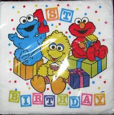 SESAME STREET FIRST BIRTHDAY 16 PACK LUNCHEON NAPKINS  PARTY SUPPLIES