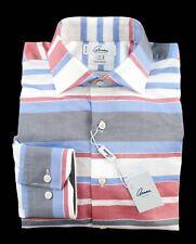 Mens ARNAU Adam Blue Striped Cotton Tailored Fit Dress Shirt 15 1/2 M NWT $135!