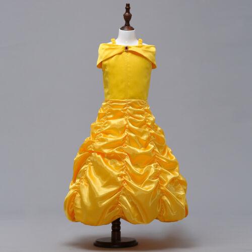 Belle Girls Fancy Dress Kids Baby Princess Dress Up Costume Party Sets Outfit UK
