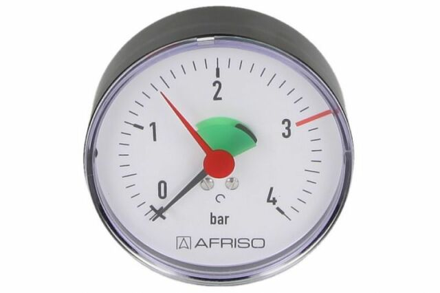 """Heizungsmanometer Afriso Axial 0 - 4 Bar 63 mm 1/4 """" Manometer"""