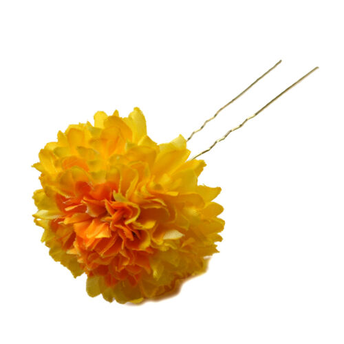 MARIGOLD PomPom FLOWER Hair FORK Clip Grip Wedding Festival Dance Prom Party