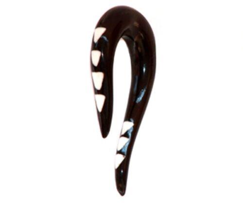 Ear Gauge civière Tribal Expander Paire Sculpté Piercing Corne//Os INCRUSTATION crochet