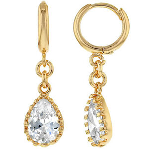 Rose Gold Tone Clear Crystal Tear Drop Dangle Hoop Special Occasion