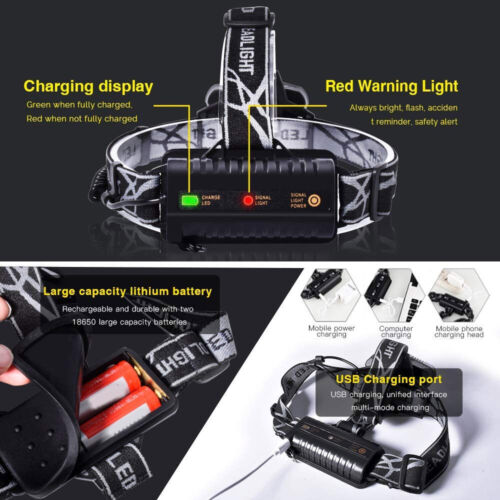650000LM CREE T6 LED Headlamp Headlight Head Torch Rechargeable Flashlight Camp