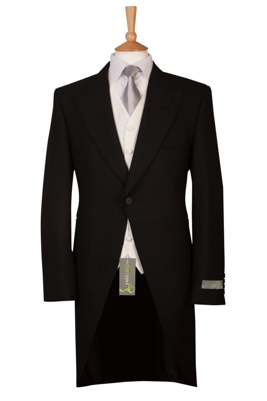 Black Mens Herringbone Tailcoat