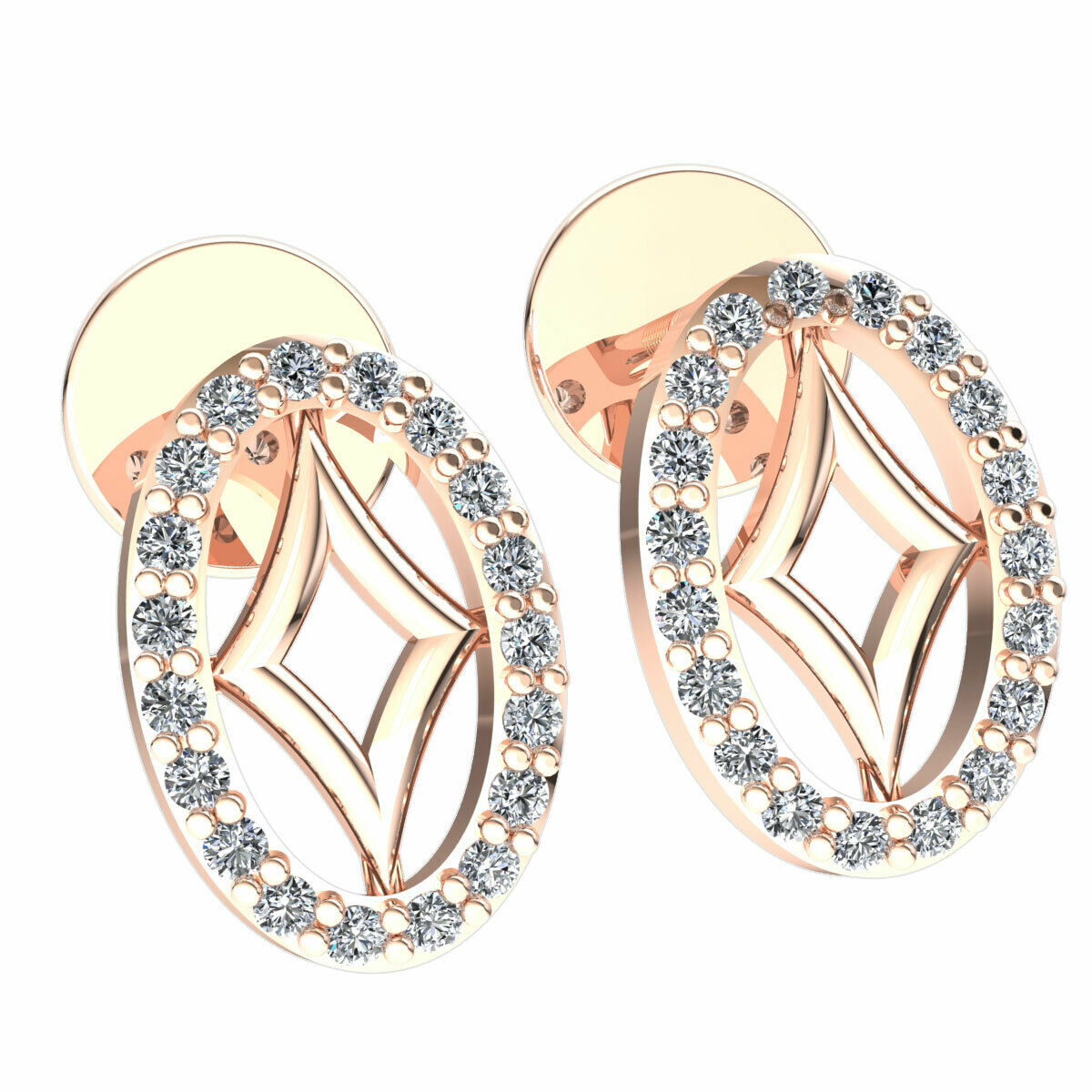 0.1carat Round Cut Diamond Ladies Oval Kite Drop Earrings Solid 14K gold