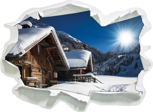 3D-Look Papier Wandtattoo Aufkleber-Sticker Verschneite Alpenhütte