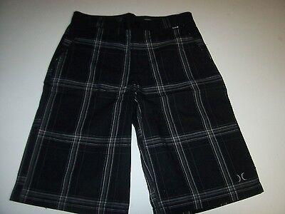 New HURLEY blue plaid khaki chino long walking shorts boys youth sz 10 12 14 16