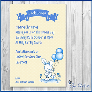 Details About 10 Personalised Christening Invitations Card Boy Christening Invite Cards