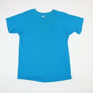 Vtg-Hanes-Plain-Blank-Pocket-T-Shirt-M-Single-Stitch-Workwear-Blue-90s-Grunge
