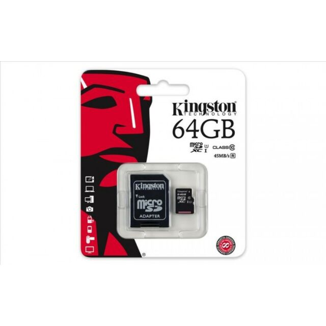 MICRO SD KINGSTON 64GB CLASSE 10 CON ADATTATORE MEMORIA TRANS FLASH SDC10G2/64
