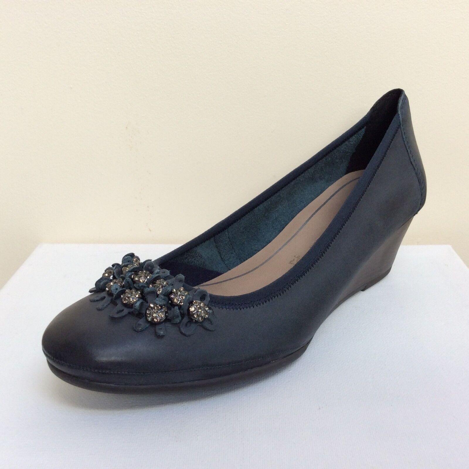Marco Tozzi Azul Marino Cuero acuñada adornado Tribunal Zapatos, Reino Unido 8 // BNWB