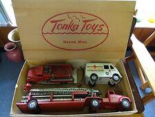 Tonka Toy USA #900-6 Tonka Fire Dept. 3 Pc Set in Original Box @1957