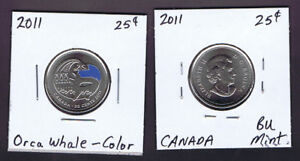 Canada 2011 25 cents Bison Whale Falcon UNC set from rolls BU Canadian Quarters