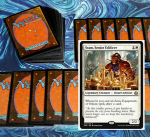 mtg-WHITE-SRAM-AURAS-COMMANDER-EDH-DECK-Magic-the-Gathering-rare-cards-zetalpa