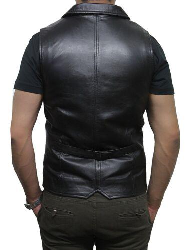 Brandslock Mens Genuine Leather biker Waistcoat Distressed