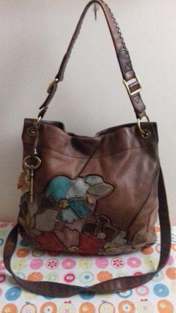 FOSSIL Vintage Leather Brown Messenger Cross Body Bag